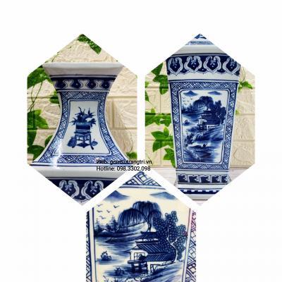 Cặp Bình Tứ Giác Vẽ Tay Sơn Thủy