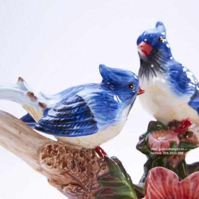 Tượng Đôi Chim Trĩ Men Xanh